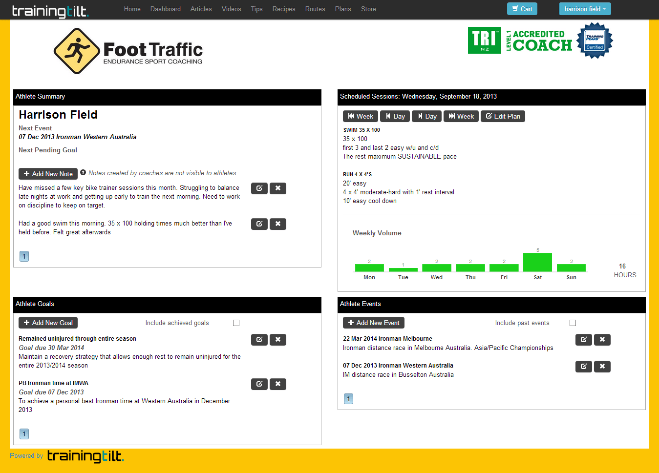 Training Dashboard